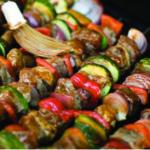 Maple Glazed Pork with Mediterranean Veg Kebabs